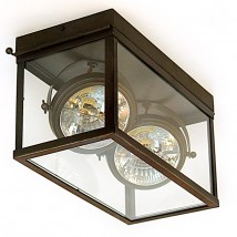 Unique glass box light with ceiling spotlights