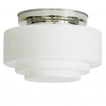 Large ceiling light with stepped opal cylinder glass