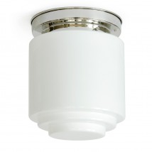 Ceiling light with slim stepped opal cylinder glass Ø 16/22 cm