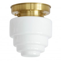 Small ceiling light with stepped opal glass Ø 14 cm