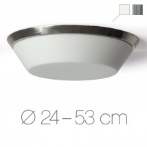 Opal glass ceiling light CARA with decorative ring, Ø 24–53 cm