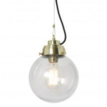 Hanging lamp with structured globe, clear or dark glass