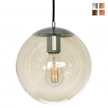 Glass ball pendant light, clear or amber, Ø 20 to 40 cm