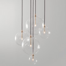 Cascade pendant luminaire with borosilicate clear glass balls