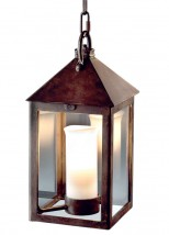 Forged hanging lantern with candle and downlight spot