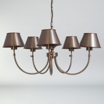 BILBOC Five-flame chandelier with oxidized brass shades from France