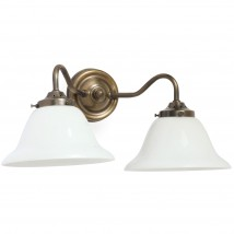Two-flame wall lamp with bell shades