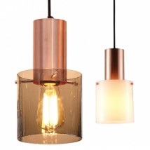 Brass or copper glass-cylinder pendant lamp WALTER