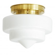 Traditional ceiling light with pointed opal glass and stepped bracket