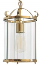 Manufactory brass pendant lamp AUGSBURG with glass panes