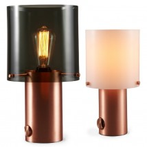 WALTER Round table lamp with copper base and dimmer