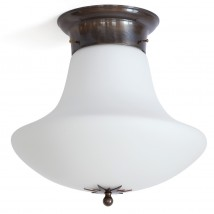 Art Nouveau ceiling light with matte opal mushroom glass