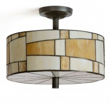 Round ceiling light with Tiffany glass shade