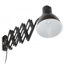 Scissor lamp for wall mounting in black and silver