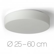 Simple disc-shaped opal glass ceiling fixture ELISA, Ø 25 to 60 cm