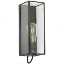 Narrow display cabinet wall lamp made of brass and glass