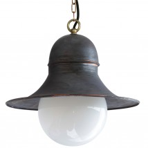 SIEGEN Factory pendant lamp with glass ball, copper version