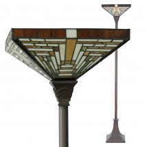 Tiffany uplight with geometrical glass shade