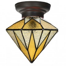 Yellow Tiffany glass ceiling light with geometrical shade