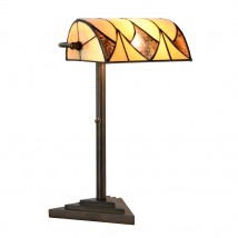 Banker's lamp style table light with Tiffany glass shade