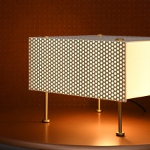 Mid Century table light G61 by P. Guariche, perforated metal sheet von Pierre Guariche, Image 5